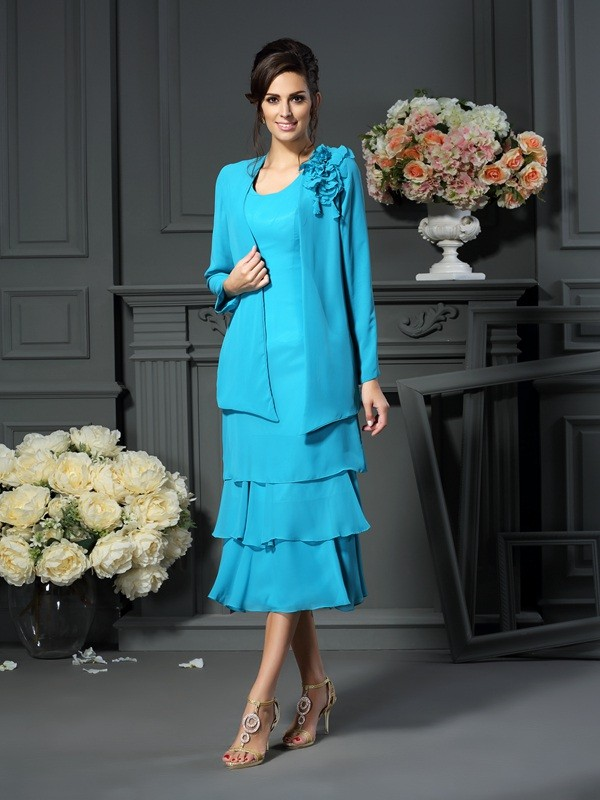 Chicregina A-Line/Princess Scoop Tea-Length Chiffon Mother Of The Bride Dress with Ruched