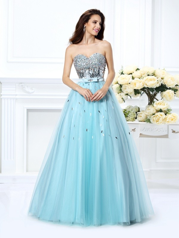 Chicregina Long Ball Gown Sweetheart Satin Dress with Beading Paillette