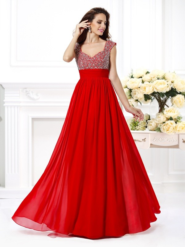 Chicregina A-Line/Princess Straps Floor-Length Chiffon Dress with Embroidery