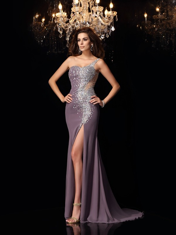 Chicregina Trumpet/Mermaid Chiffon One-Shoulder Rhinestone Sweep/Brush Train Dress with Pleats