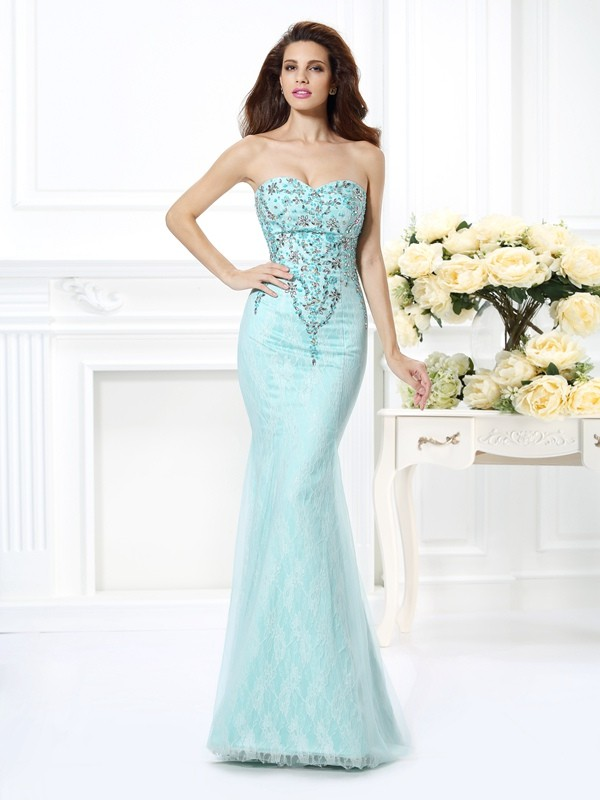 Chicregina Long Trumpet/Mermaid Sweetheart Beading Lace Net Evening Dress with Lace
