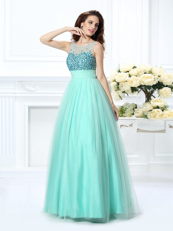 Chicregina Long Ball Gown Bateau Chiffon Prom Dress with Rhinestone