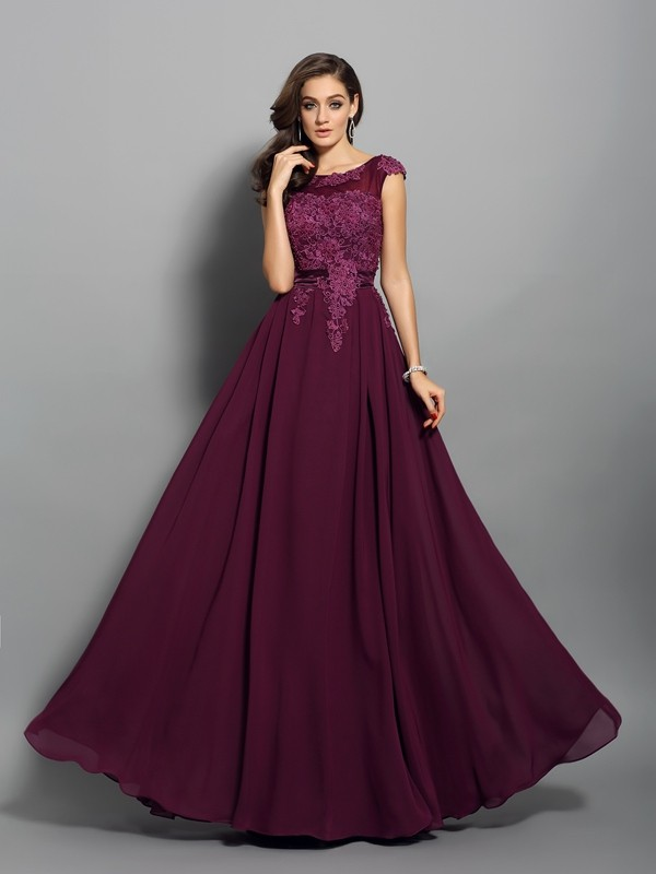 Chicregina A-Line/Princess Chiffon Scoop Floor-Length Dress with Beading