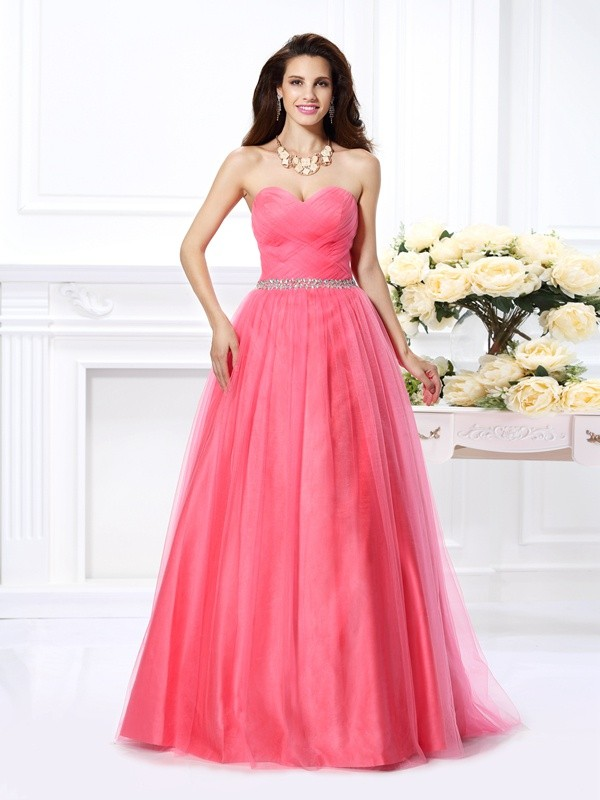 Chicregina Long Ball Gown Sweetheart Pleats Beading Satin Dress with Ruffles