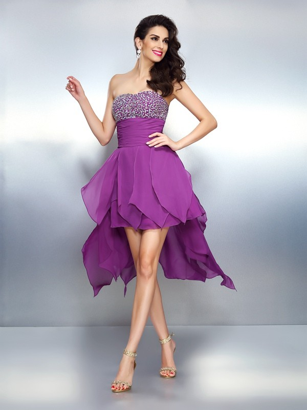 Chicregina A-Line/Princess Strapless Asymmetrical Chiffon Dress with Applique Beading
