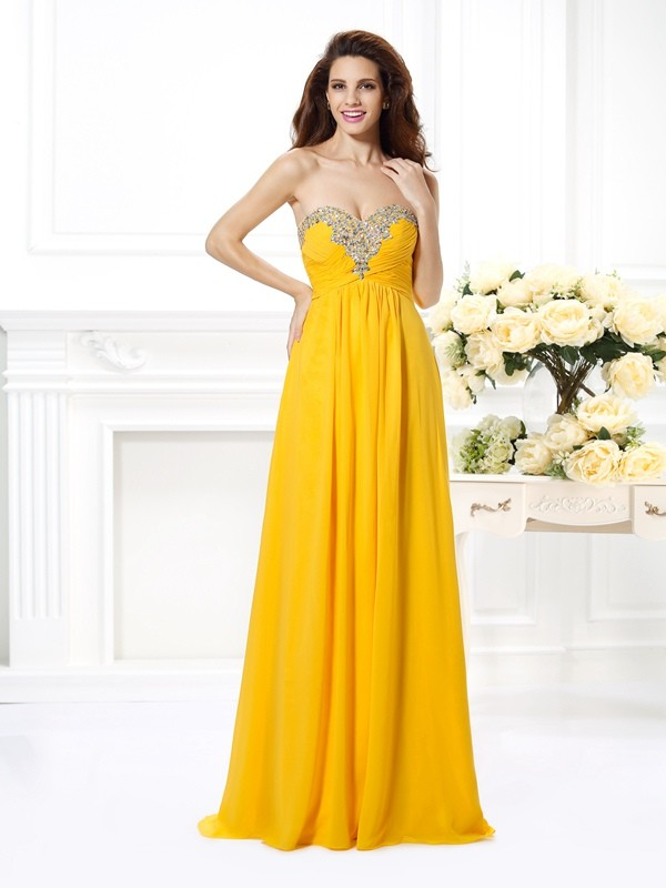 Chicregina Long A-Line/Princess Sweetheart Beading Chiffon Dress with Beading