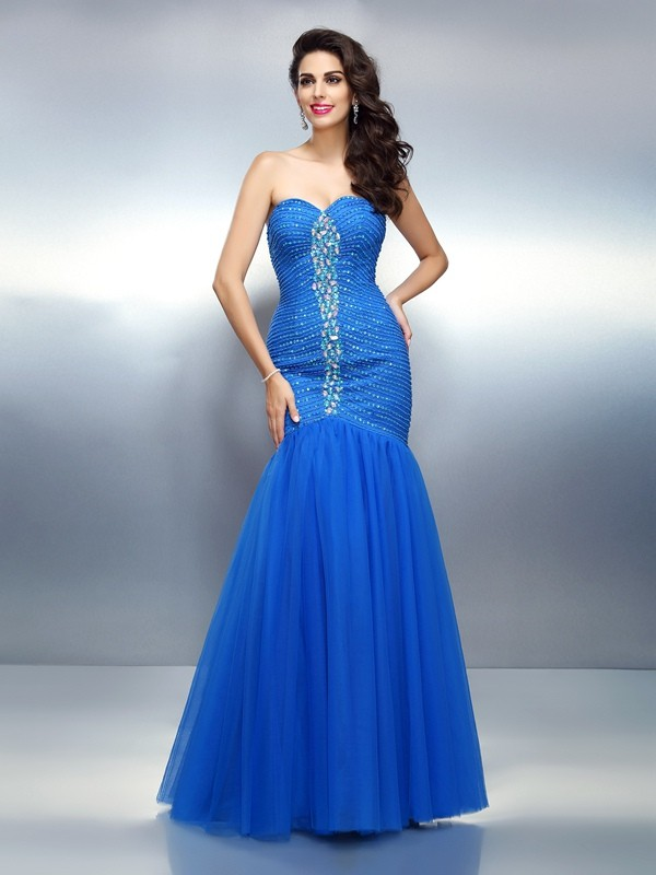 Chicregina Long Trumpet/Mermaid Sweetheart Satin Dress with Sash Rhinestone