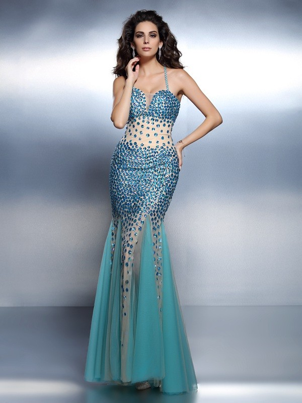 Chicregina Long Trumpet/Mermaid Spaghetti Straps Satin Dress with Rhinestone