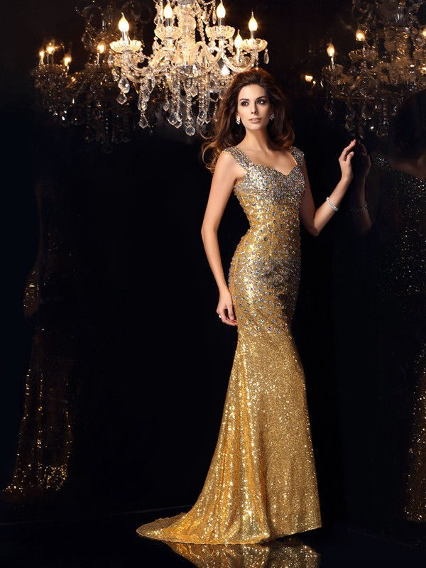 Chicregina Long Trumpet/Mermaid Straps Sequins Rhinestone Dress with Sash