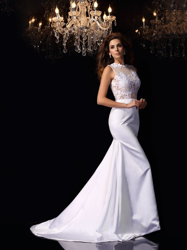 Chicregina Trumpet/Mermaid High Neck Satin Chapel Train Wedding Dress with Ruffles
