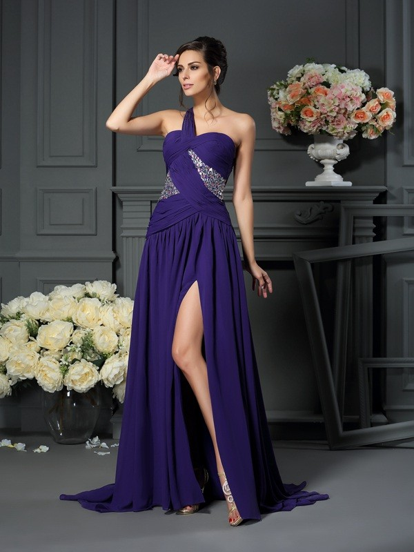 Chicregina A-Line/Princess One-Shoulder Chiffon Sweep/Brush Train Dress with Ruched