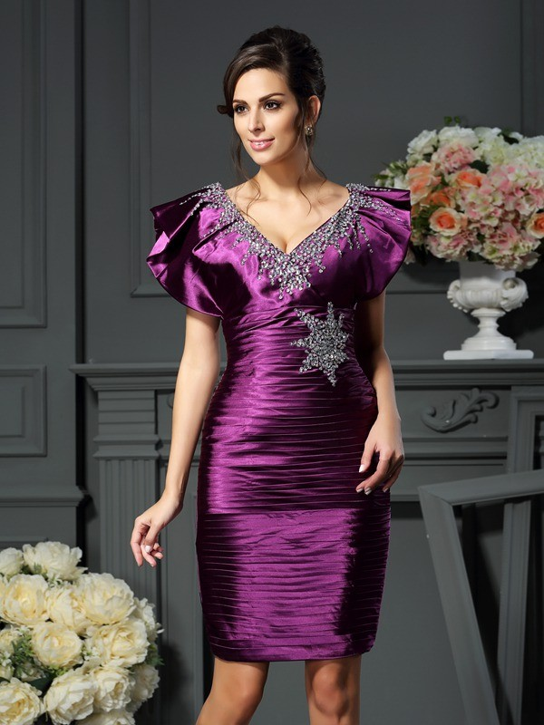Chicregina Sheath/Column V-neck Beading Short/Mini Elastic Woven Satin Mother Of The Bride Dress with Embroidery