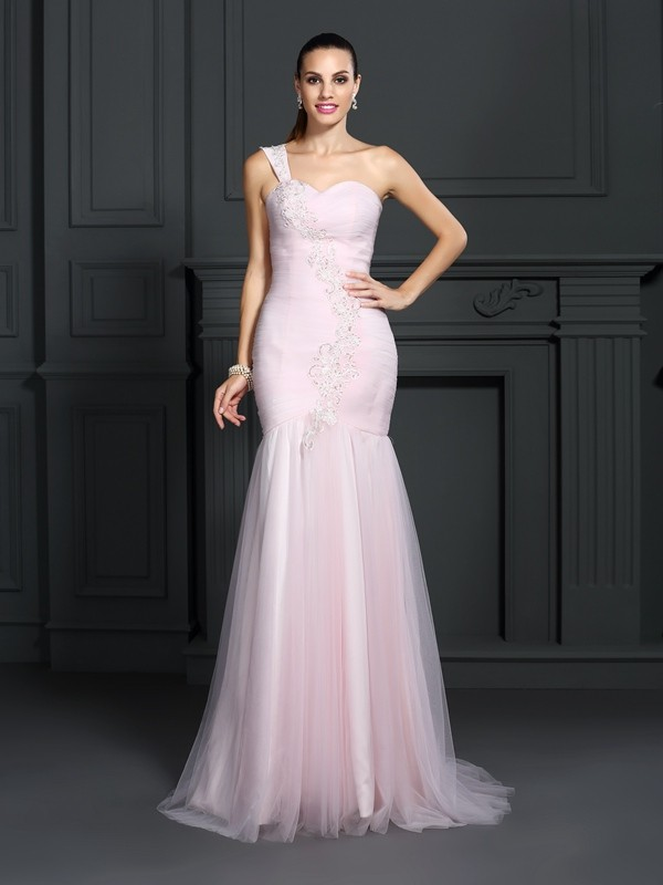 Chicregina Trumpet/Mermaid One-Shoulder Sweep/Brush Train Satin Dress with Ruffles