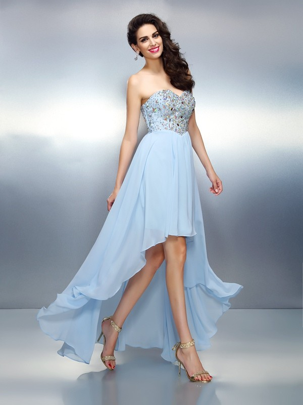 Chicregina A-Line/Princess Sweetheart Asymmetrical Chiffon Prom Dress with Embroidery Ruffles