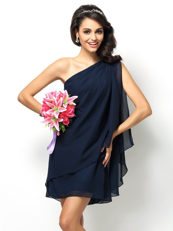 Chicregina A-Line/Princess One-Shoulder Short/Mini Chiffon Bridesmaid Dress with Embroidery
