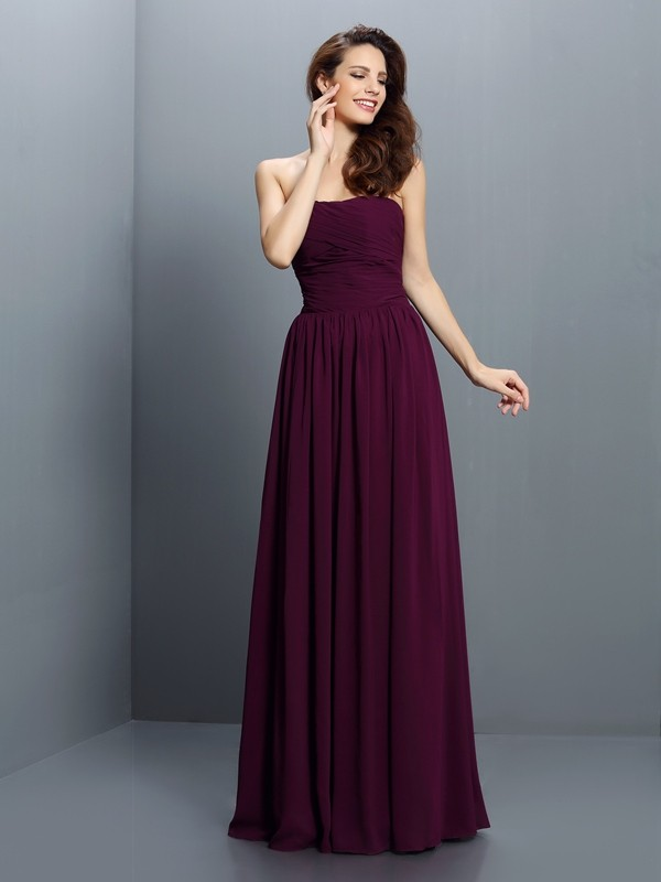 Chicregina A-Line/Princess Strapless Floor-Length Chiffon Bridesmaid Dress with Sash Pleats