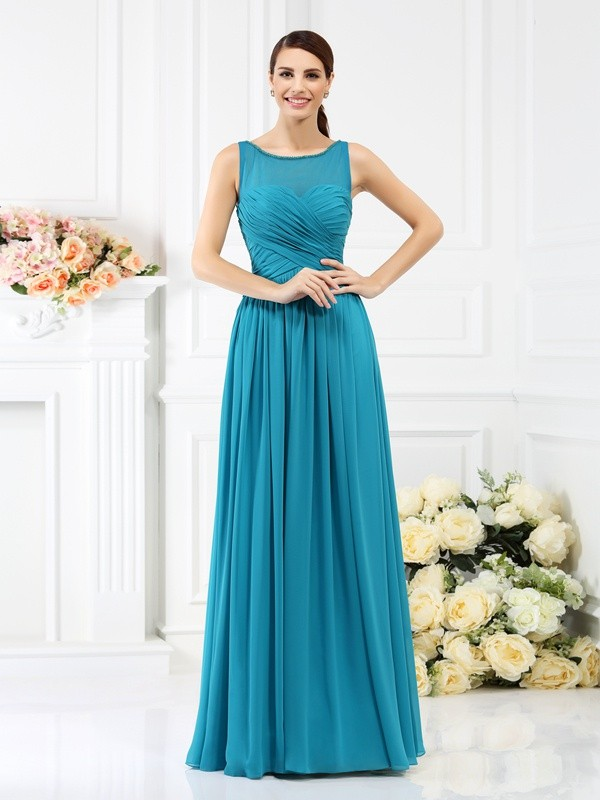 Chicregina Long A-Line/Princess Bateau Chiffon Bridesmaid Dress with Beading Pleats
