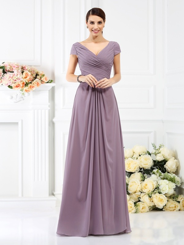 Chicregina A-Line/Princess V-neck Short Sleeves Floor-Length Chiffon Bridesmaid Dress with Embroidery Pleats