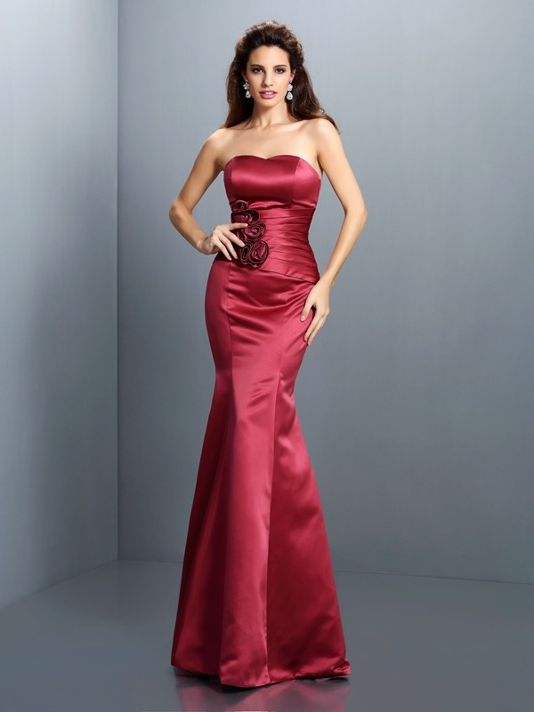 Chicregina Long Trumpet/Mermaid Strapless Satin Dress with Embroidery Hand-Made Flower