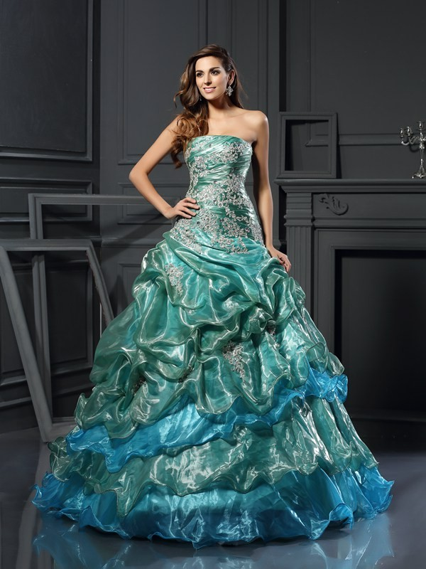 Chicregina Ball Gown Sweetheart Tulle Floor-Length Dress with Applique