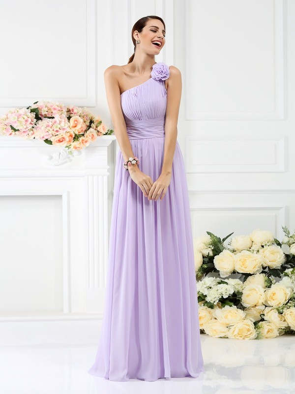 Chicregina A-Line/Princess One-Shoulder Floor-Length Chiffon Bridesmaid Dress with Embroidery Pleats