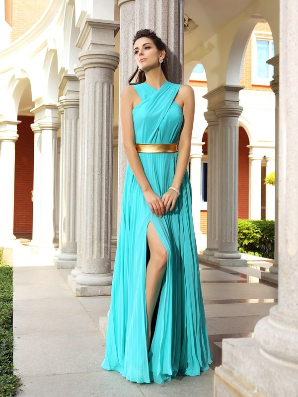 Chicregina Long A-Line/Princess Chiffon Dress with Sash Pleats