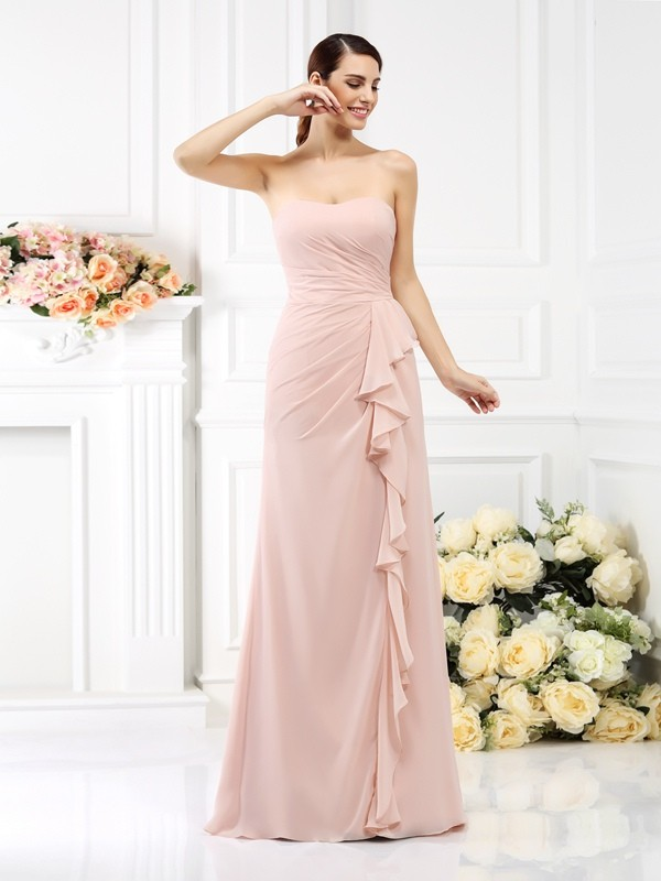 Chicregina A-Line/Princess Strapless Floor-Length Chiffon Bridesmaid Dress with Rhinestone Pleats