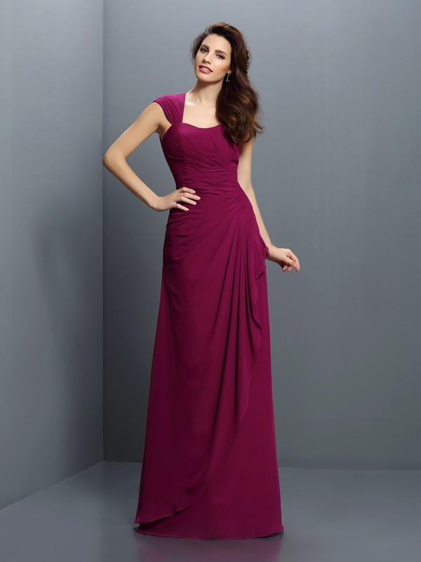 Chicregina A-Line/Princess Straps Floor-Length Chiffon Bridesmaid Dress with Embroidery Pleats