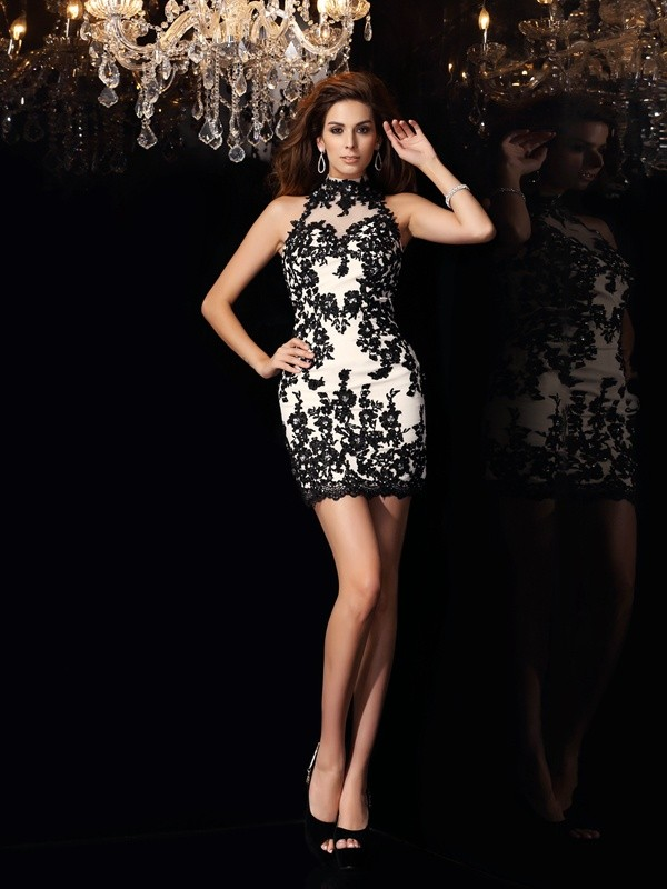 Chicregina Sheath/Column High Neck Chiffon Applique Beading Short/Mini Dress with Beading