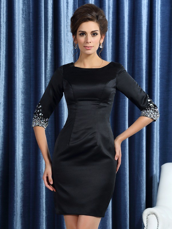Chicregina Sheath/Column Square 1/2 Sleeves Satin Short/Mini Beading Mother Of The Bride Dress with Ruffles