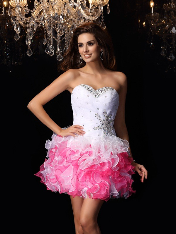 Chicregina A-Line/Princess Sweetheart Organza Ruffles Short/Mini Dress with Pleats