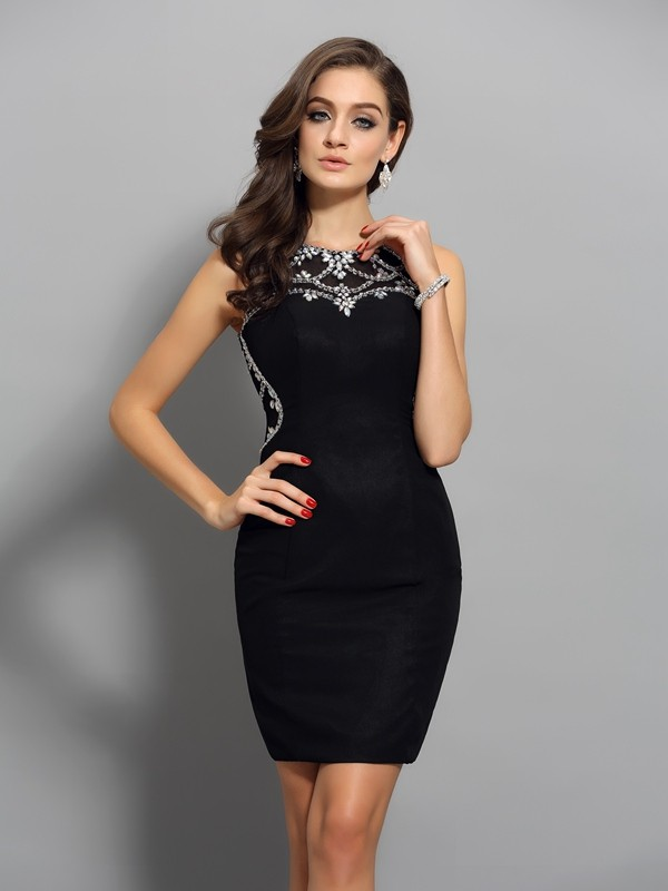 Chicregina Sheath/Column Chiffon Scoop Short/Mini Dress with Applique Beading