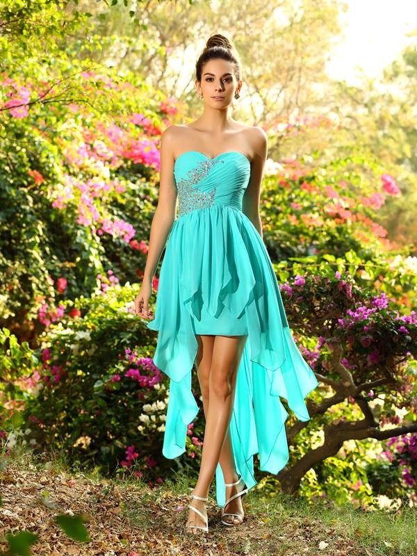 Chicregina A-Line/Princess Sweetheart Chiffon Asymmetrical Beading Dress with Sash