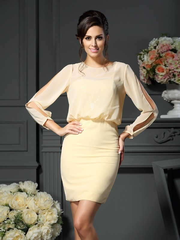 Chicregina Sheath/Column Long Sleeves Scoop Short/Mini Chiffon Mother Of The Bride Dress with Beading