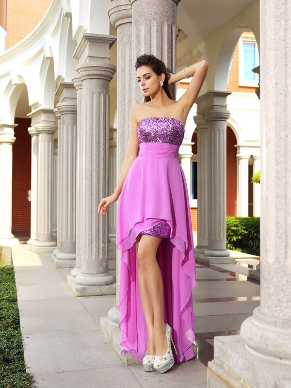 Chicregina A-Line/Princess Strapless Chiffon Asymmetrical Dress with Rhinestone Beading