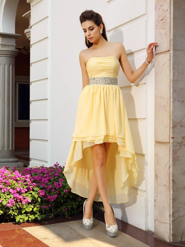 Chicregina A-Line/Princess Strapless Chiffon Asymmetrical Dress with Ruched
