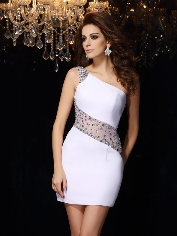 Chicregina Sheath/Column One-Shoulder Chiffon Short/Mini Dress with Lace Beading
