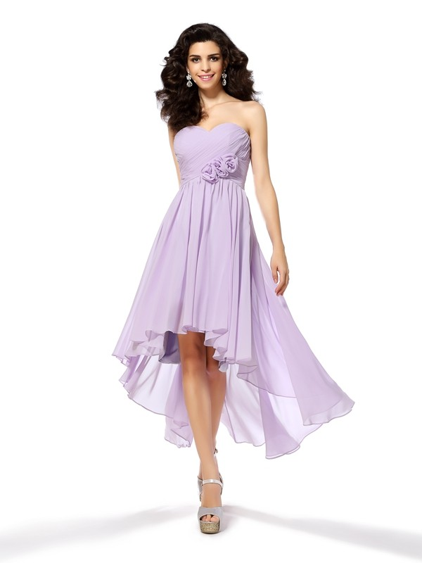 Chicregina A-Line/Princess Sweetheart Asymmetrical Chiffon Prom Dress with Beading