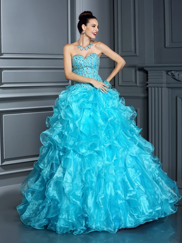 Chicregina Ball Gown Sweetheart Floor-Length Organza Quinceanera Dress with Beading
