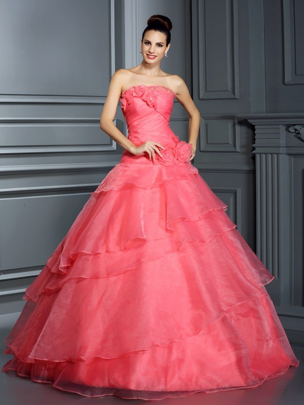 Chicregina Long Ball Gown Strapless Hand-Made Flower Organza Quinceanera Dress with Applique