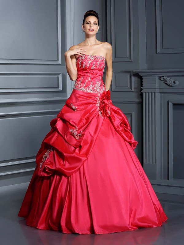 Chicregina Ball Gown Strapless Floor-Length Taffeta Quinceanera Dress with Embroidery