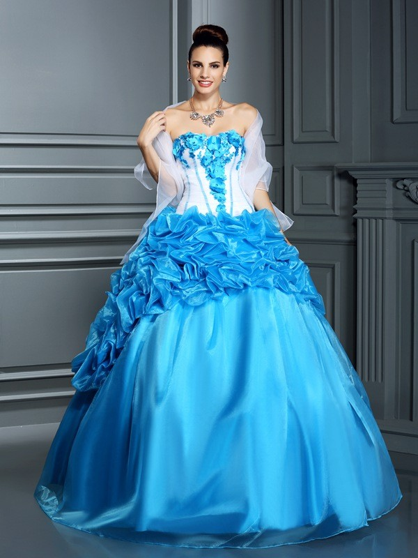 Chicregina Long Ball Gown Sweetheart Ruffles Satin Dress with Rhinestone
