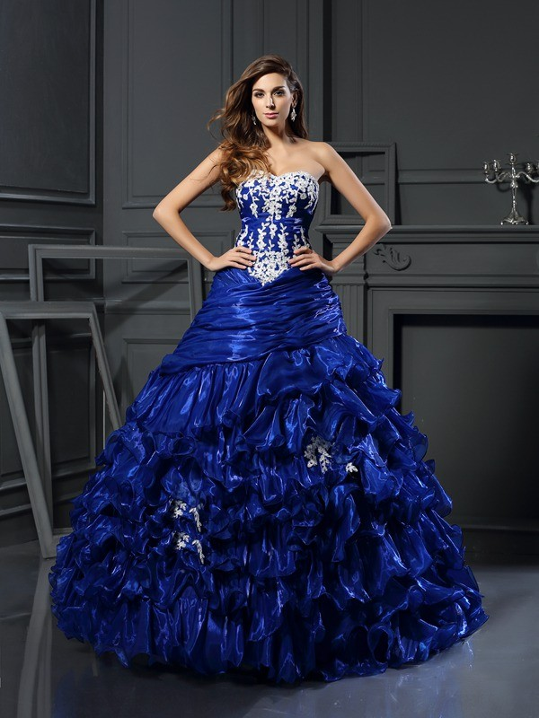 Chicregina Long Ball Gown Sweetheart Tulle Applique Dress with Embroidery