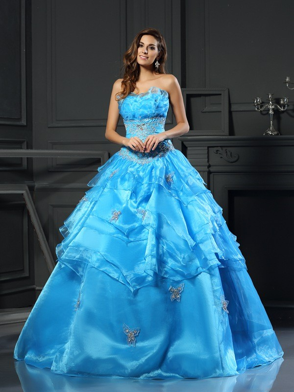 Chicregina Ball Gown Sweetheart Floor-Length Organza Dress with Beading