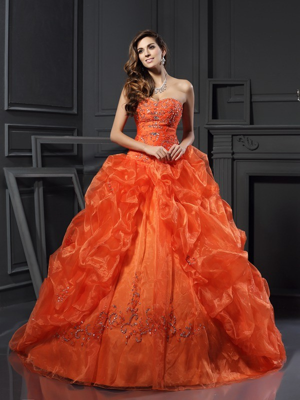 Chicregina Ball Gown Sweetheart Applique Court Train Organza Dress with Beading