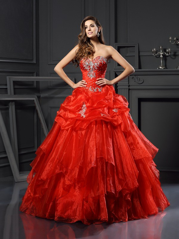 Chicregina Long Ball Gown Sweetheart Tulle Dress with Applique