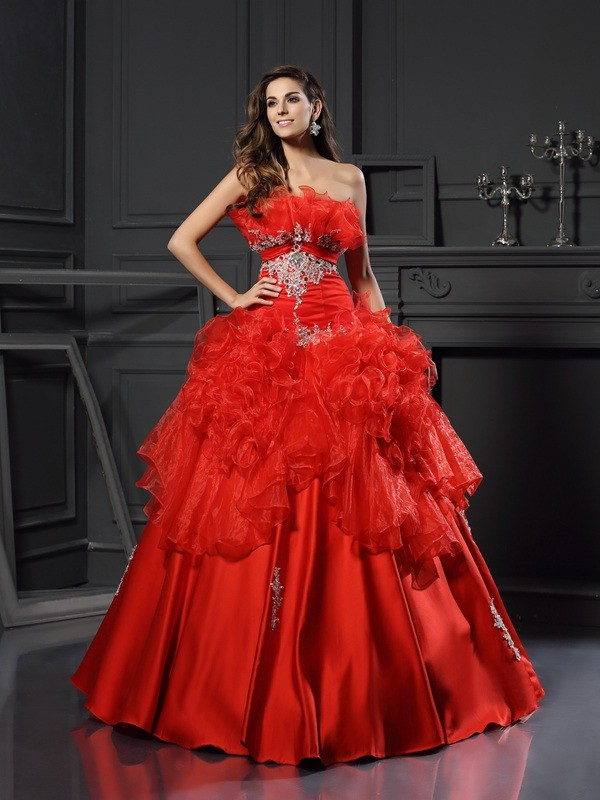 Chicregina Long Ball Gown Strapless Organza Dress with Rhinestone Ruffles