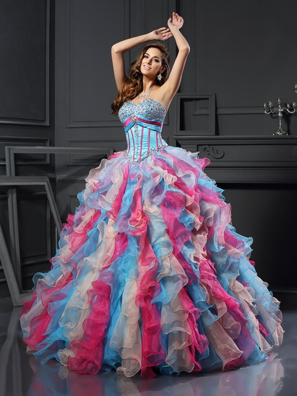 Chicregina Long Ball Gown Sweetheart Organza Dress with Ruched Beading