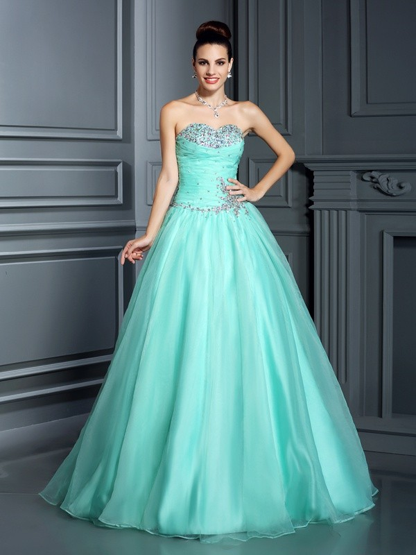 Chicregina Long Ball Gown Sweetheart Organza Quinceanera Dress with Lace Beading