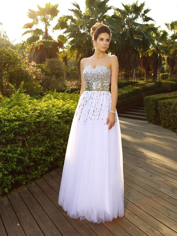 Chicregina A-Line/Princess Beading Sweetheart Floor-Length Organza Dress with Lace